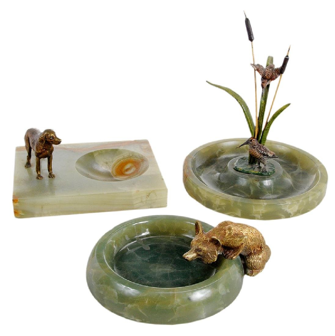 Three Sporting Related Onyx and Bronze Ashtrays