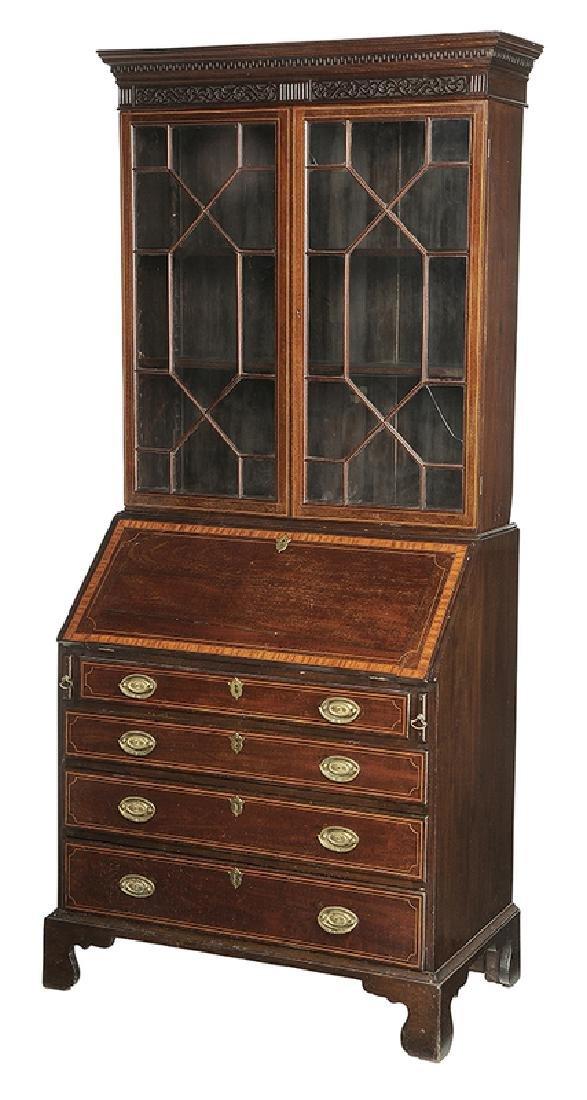 George III Inlaid Mahogany Desk and Bookcase