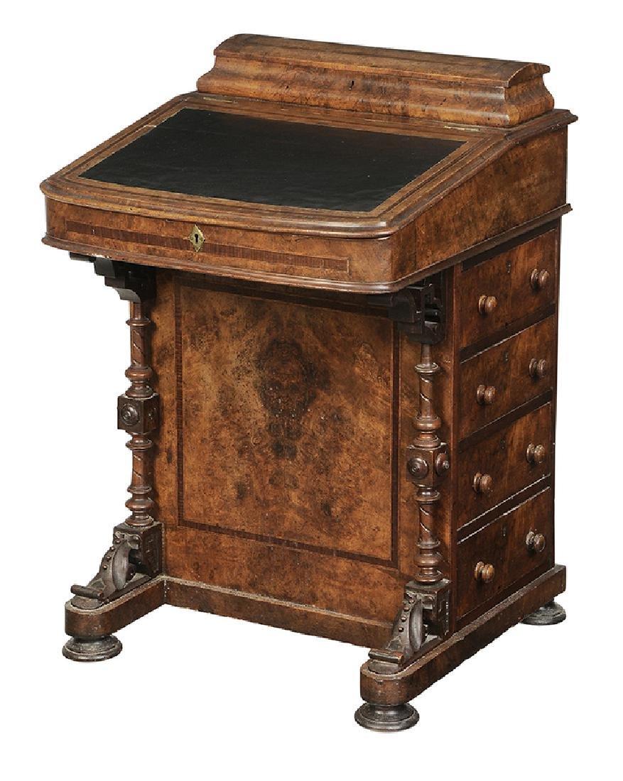 Victorian BurlwoodVeneered Davenport Desk