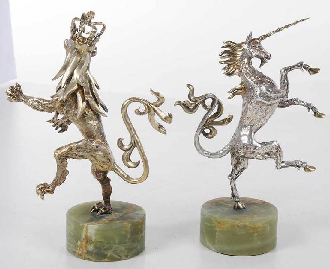 Two Gilt English Silver Figures - 6