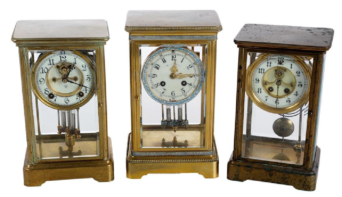 Three Large Brass Carriage Clocks