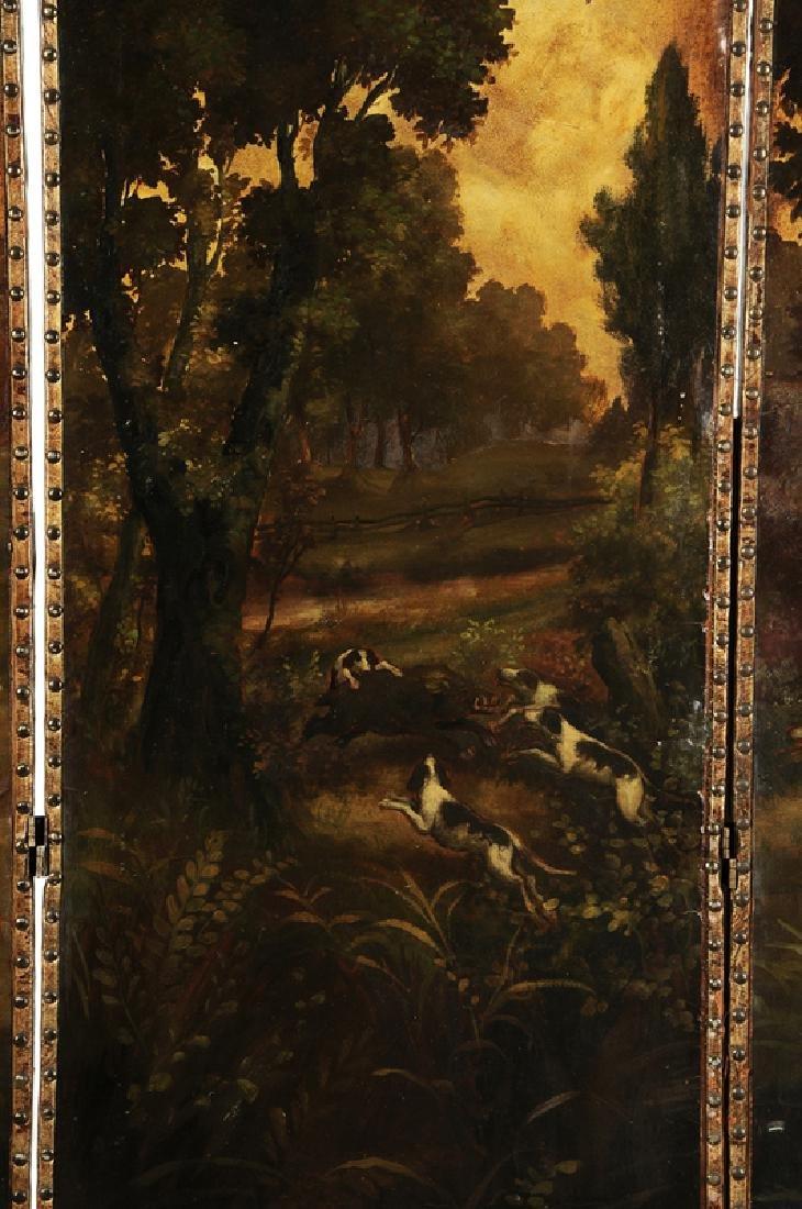Vintage Boar Hunt Scene Leather Room Screen - 4