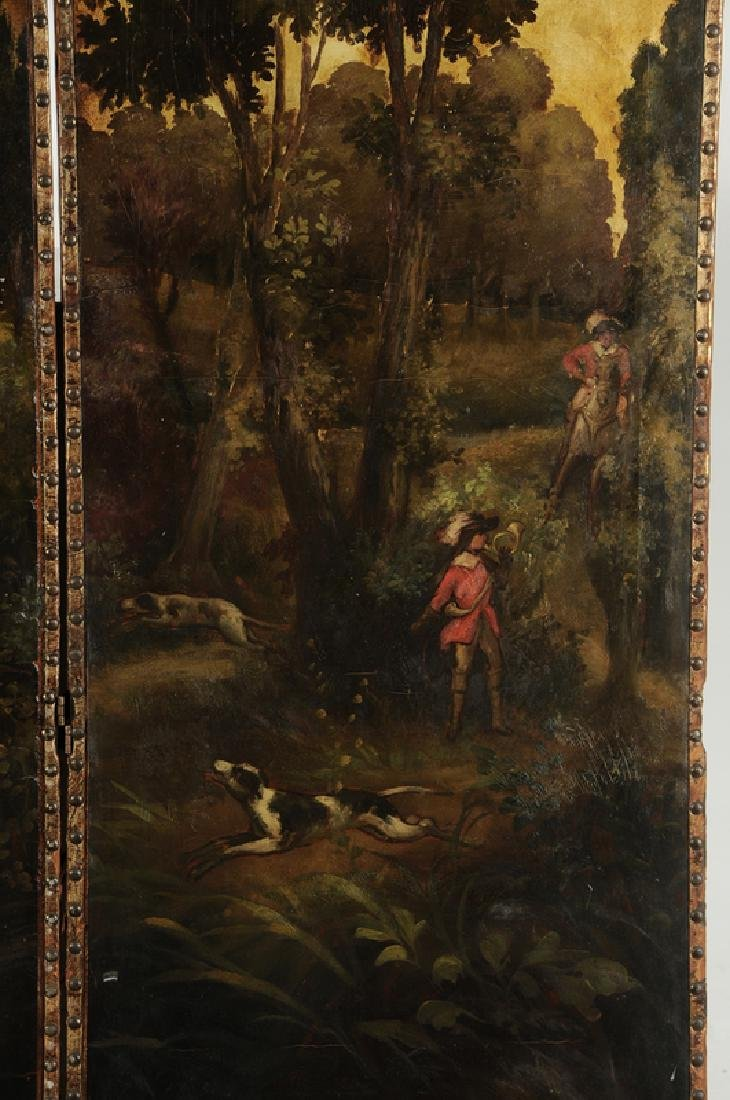 Vintage Boar Hunt Scene Leather Room Screen - 5