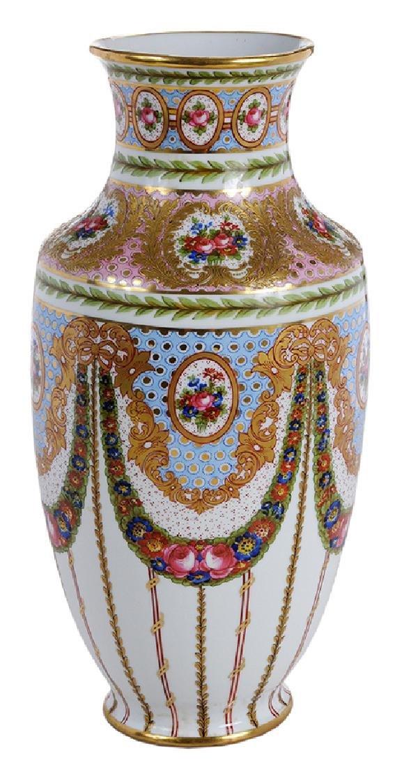 Large Sevres Gilt and Floral Vase