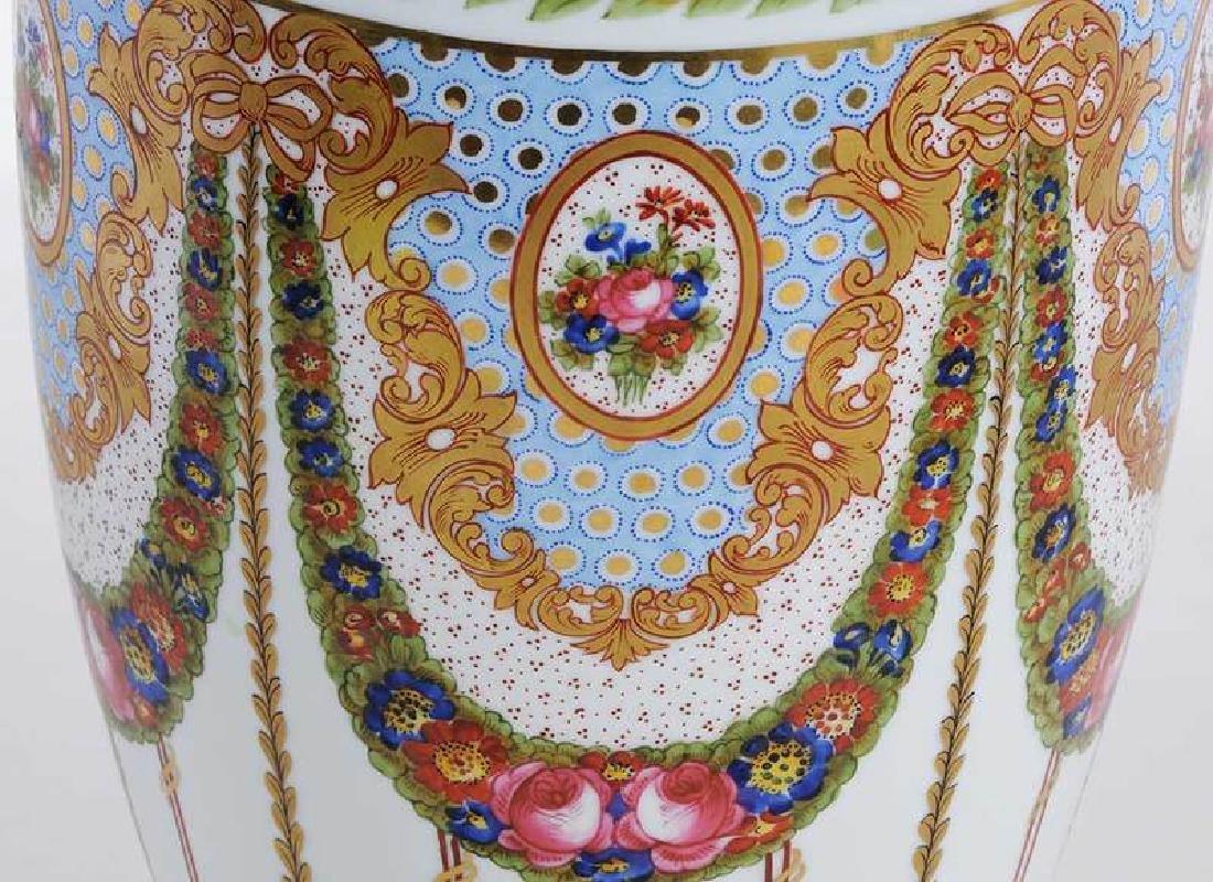 Large Sevres Gilt and Floral Vase - 2