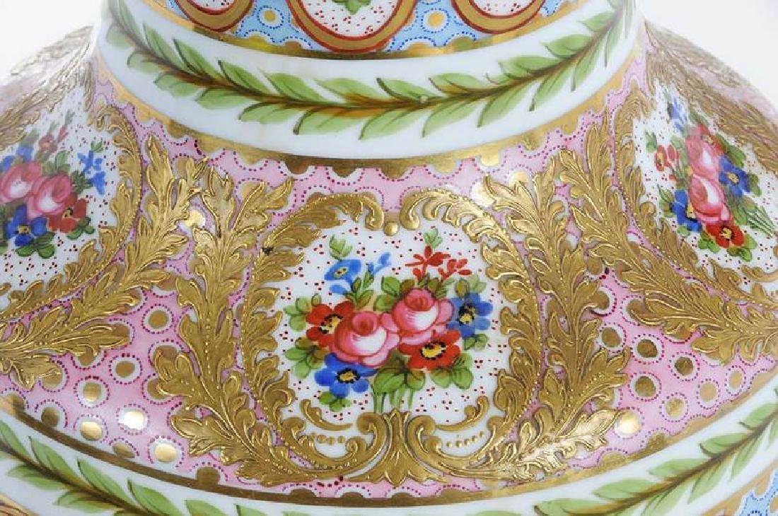 Large Sevres Gilt and Floral Vase - 3