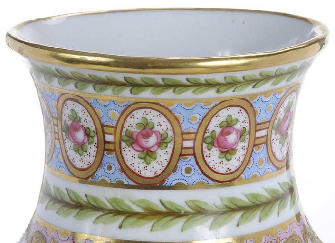 Large Sevres Gilt and Floral Vase - 4