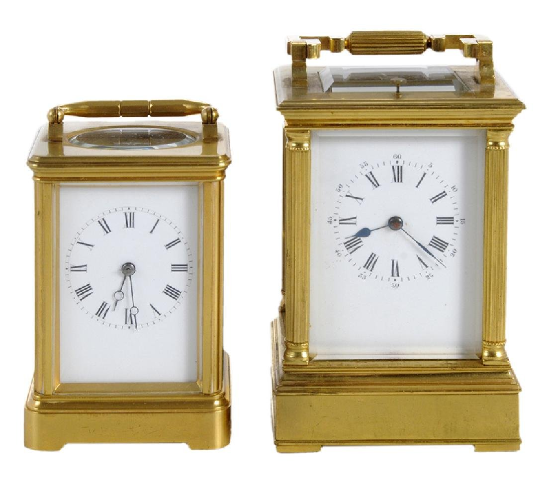 Two Gilt Brass and Beveled Glass Carriage Clocks