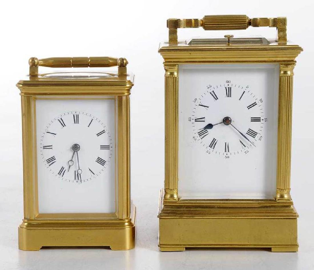 Two Gilt Brass and Beveled Glass Carriage Clocks - 2