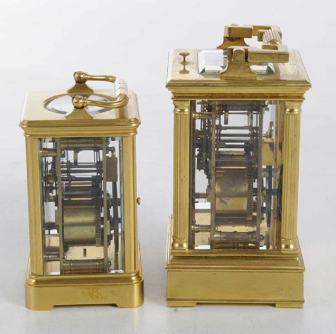 Two Gilt Brass and Beveled Glass Carriage Clocks - 5