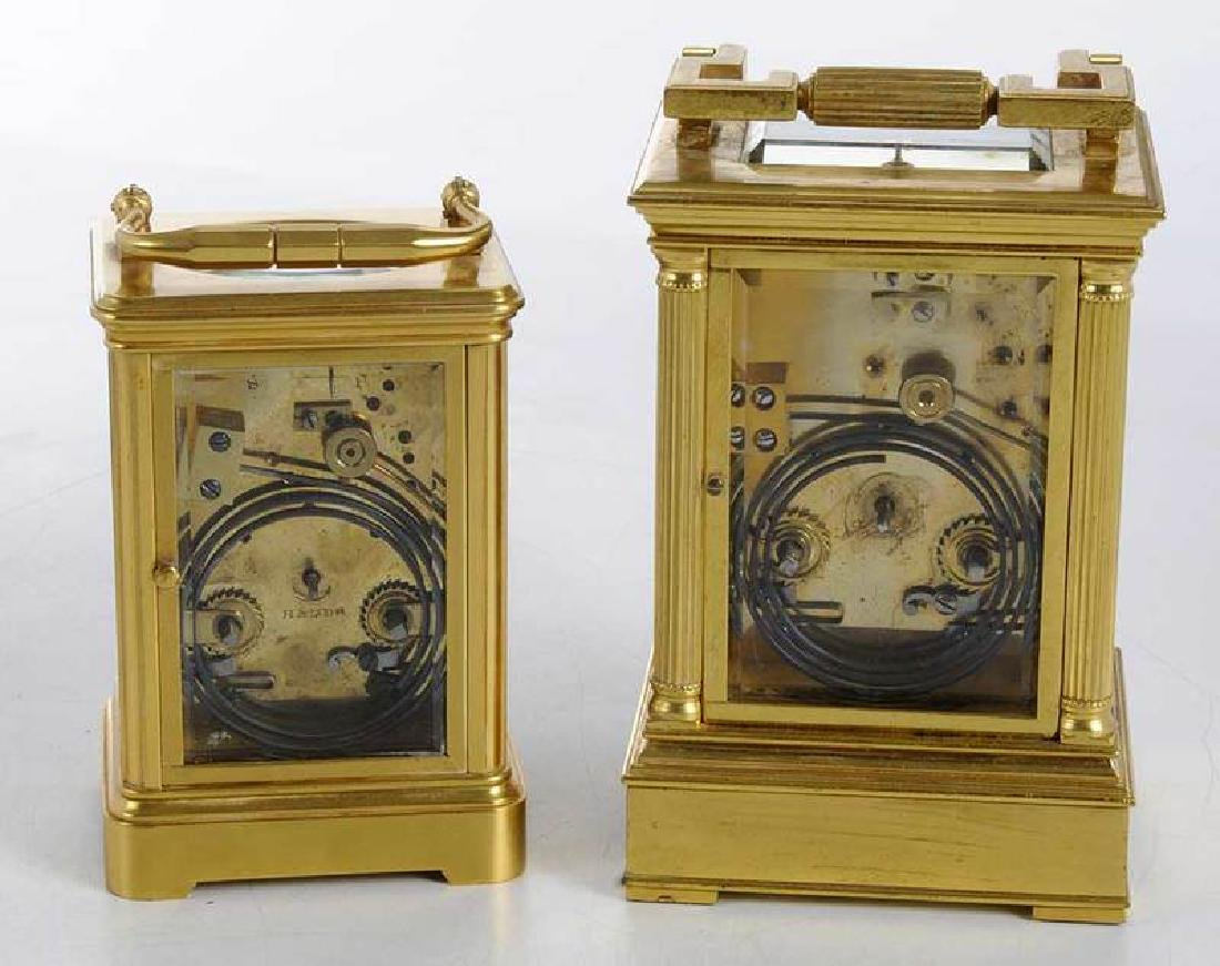 Two Gilt Brass and Beveled Glass Carriage Clocks - 6