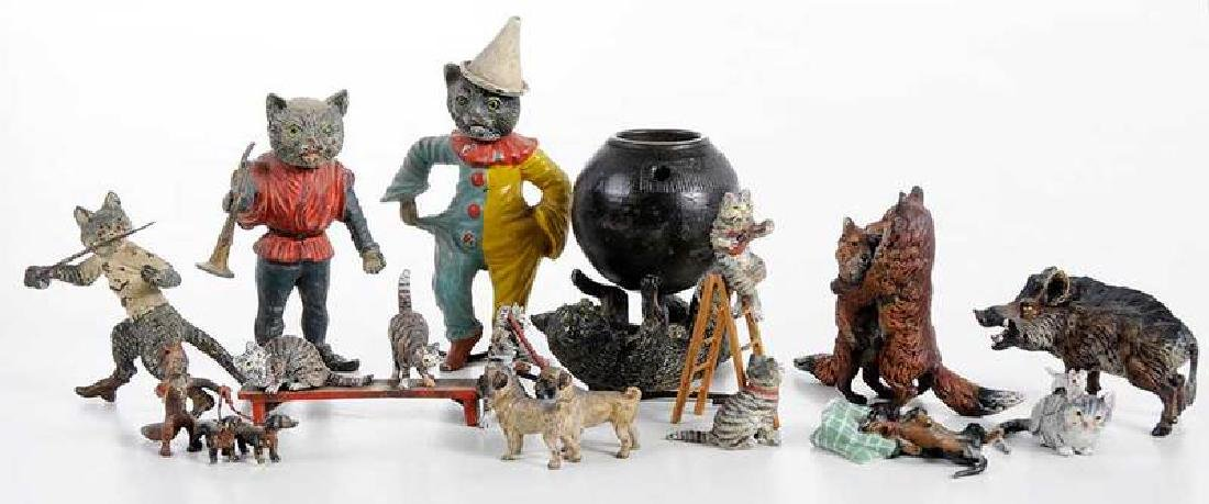 12 Minaiture Cold Painted Bronze Animal Figures - 2