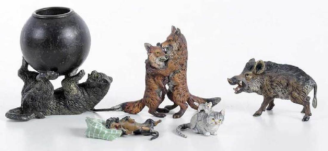 12 Minaiture Cold Painted Bronze Animal Figures - 6