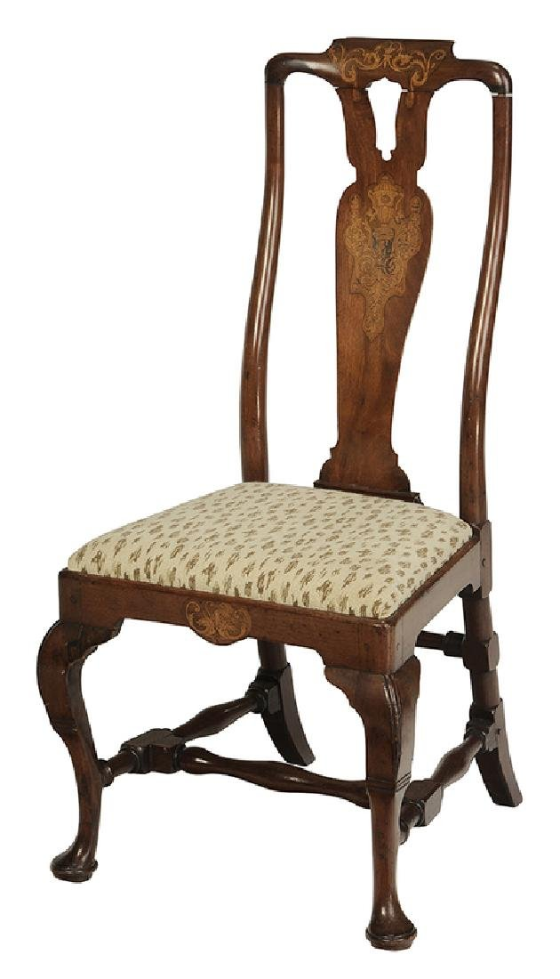 Queen Anne Marquetry Inlaid Walnut Side Chair