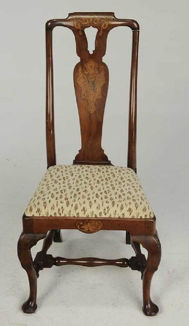 Queen Anne Marquetry Inlaid Walnut Side Chair - 2
