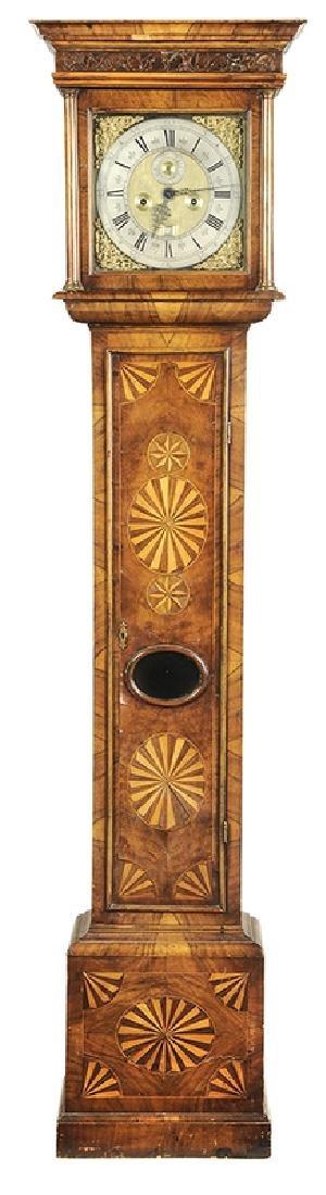 William and Mary Inlaid Walnut Tall Case Clock