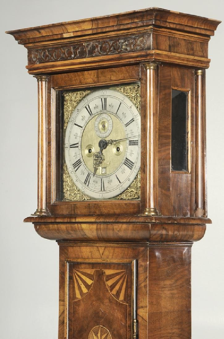William and Mary Inlaid Walnut Tall Case Clock - 2