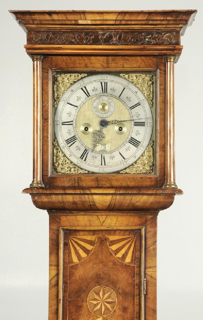William and Mary Inlaid Walnut Tall Case Clock - 5