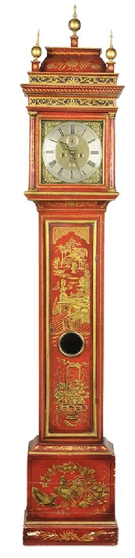 Queen Anne Red Japanned Tall Case Clock