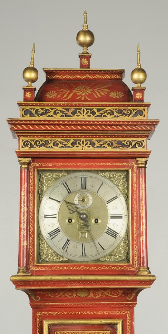 Queen Anne Red Japanned Tall Case Clock - 2