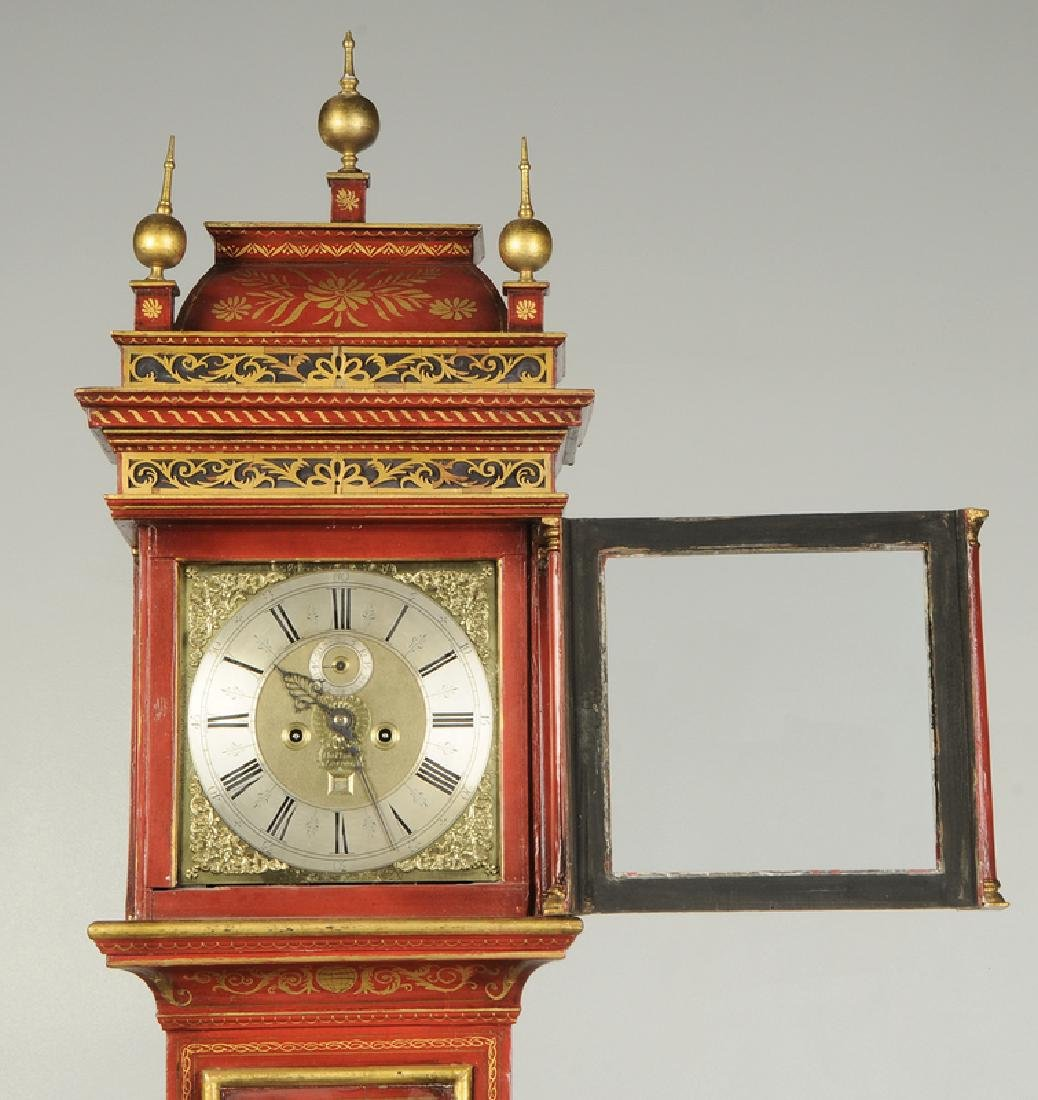 Queen Anne Red Japanned Tall Case Clock - 6