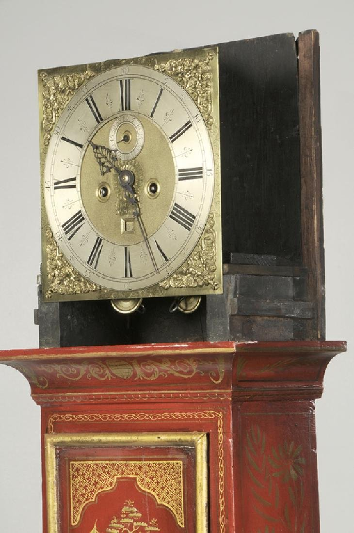Queen Anne Red Japanned Tall Case Clock - 8