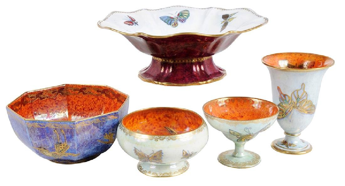Five Pieces Wedgwood Fairyland Lustre