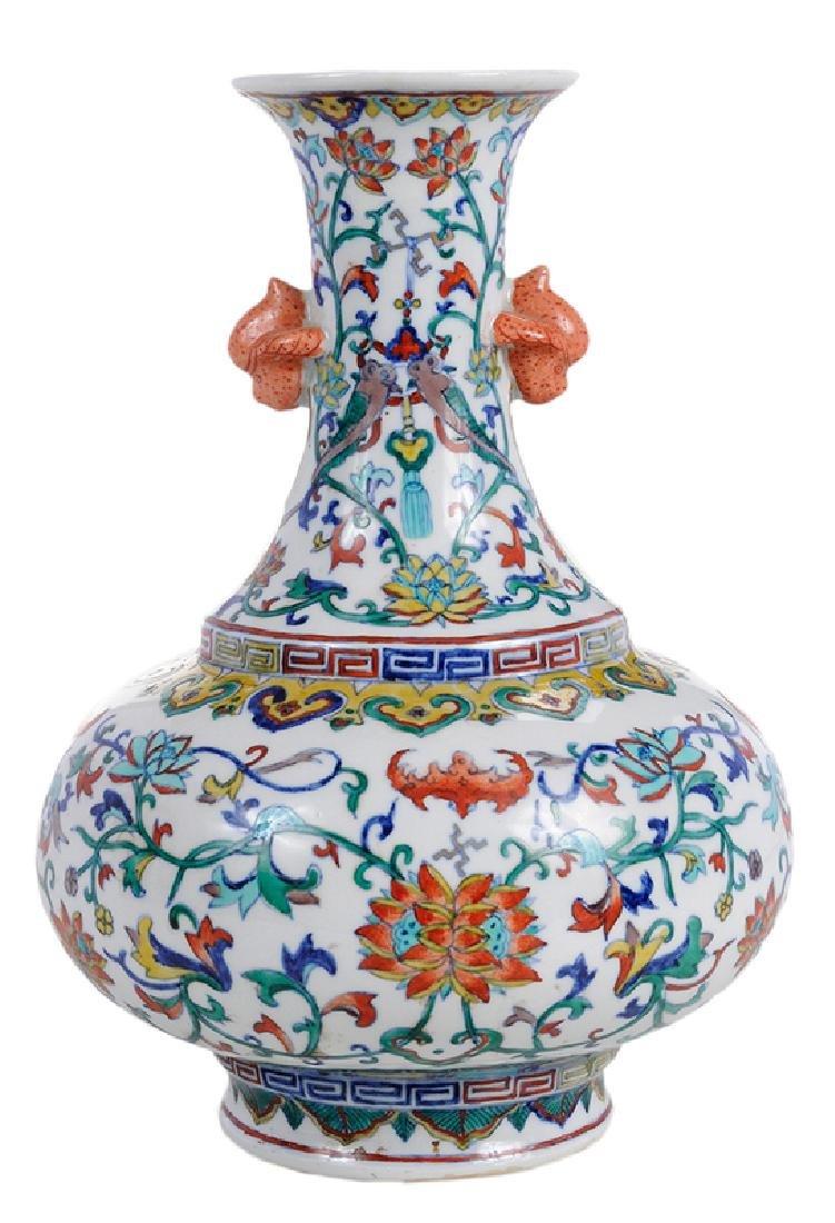 Chinese Enameled Floral Vase