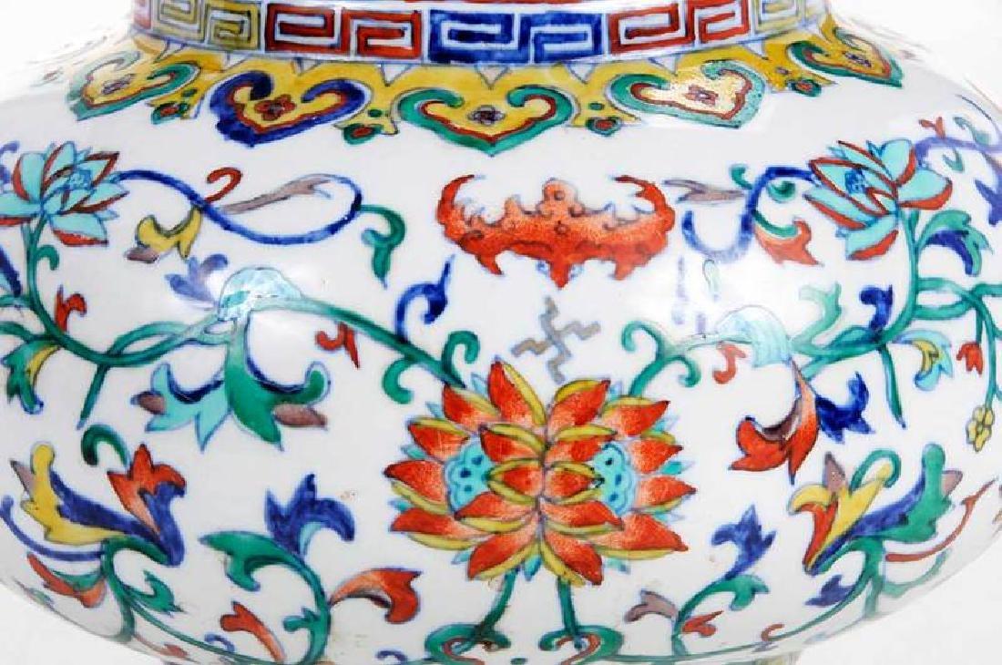 Chinese Enameled Floral Vase - 3