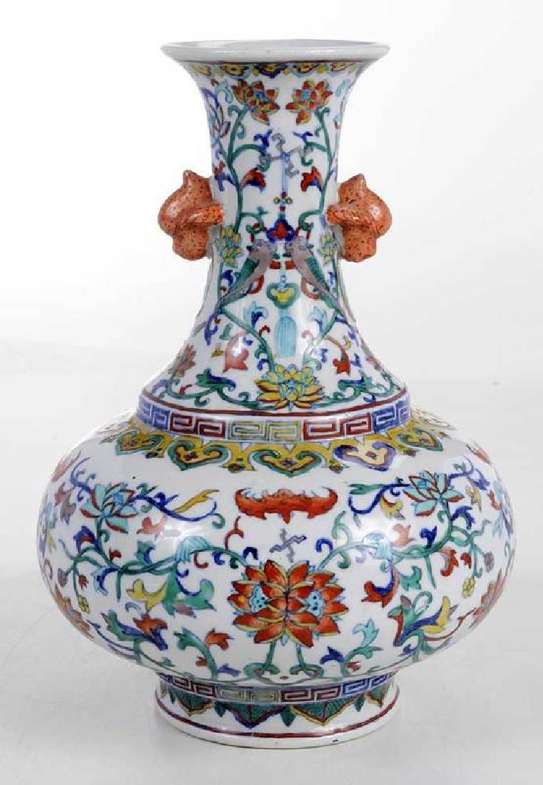 Chinese Enameled Floral Vase - 5