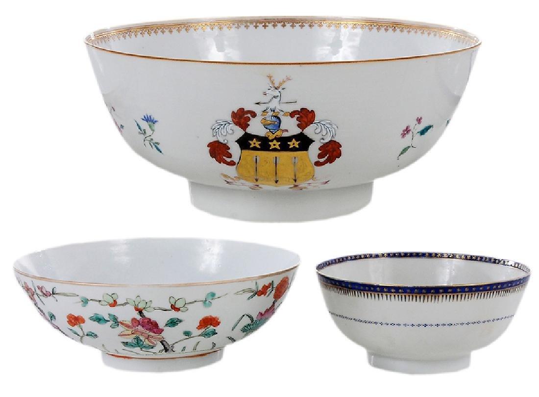 Three Chinese Export Bowls