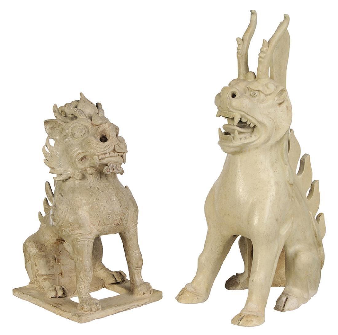 Two Sui Dynasty Straw Glazed Spirit Animals
