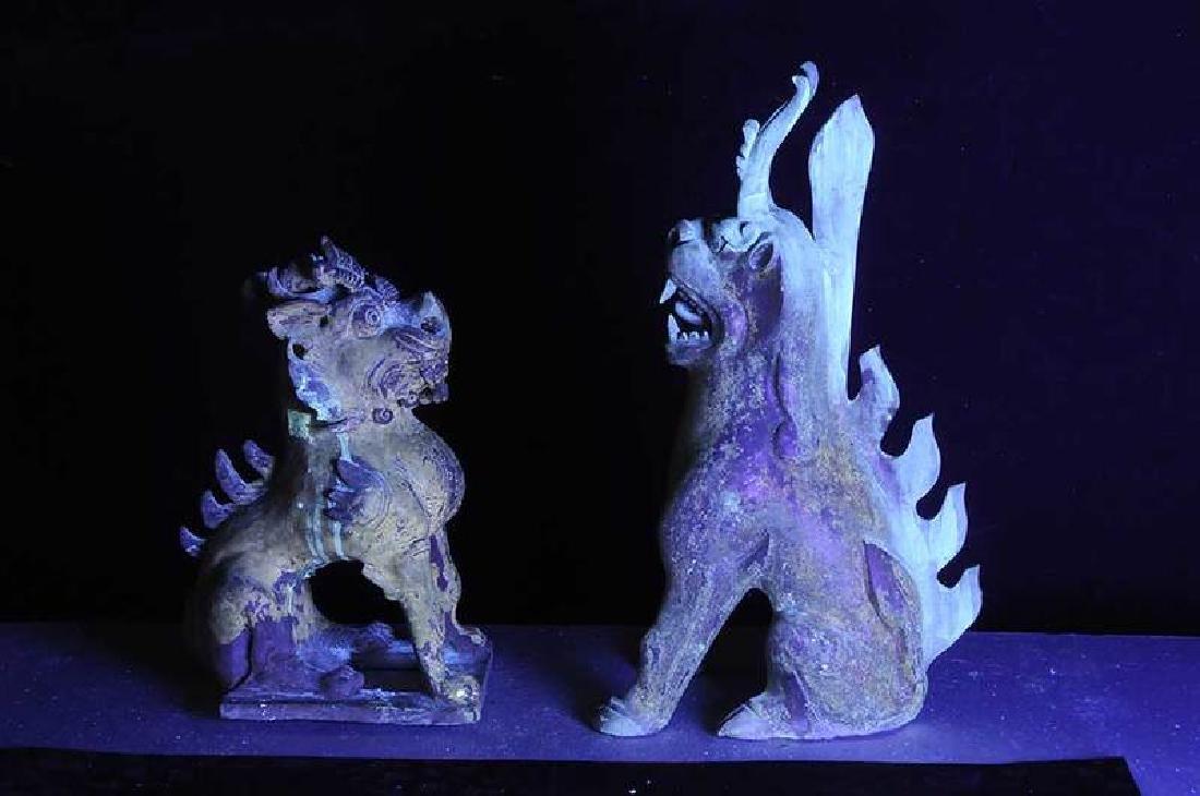 Two Sui Dynasty Straw Glazed Spirit Animals - 8