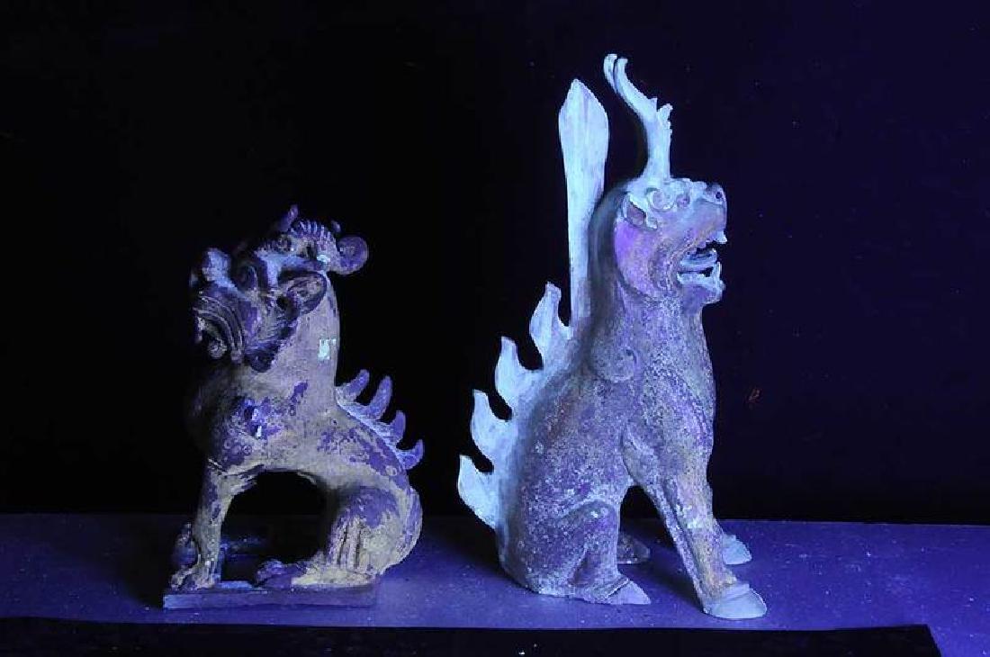 Two Sui Dynasty Straw Glazed Spirit Animals - 9