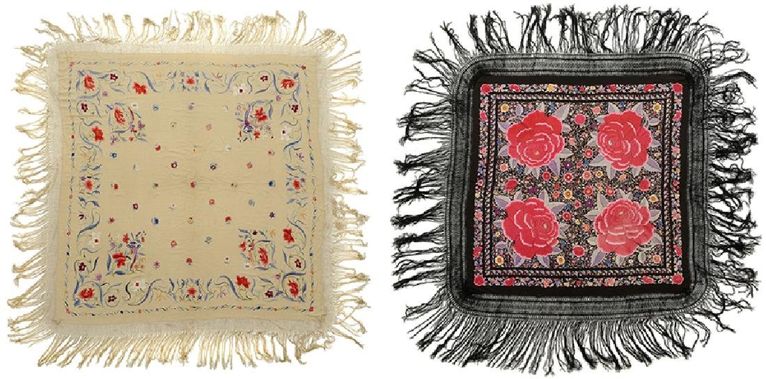 Two Asian Embroidered Silk Panels