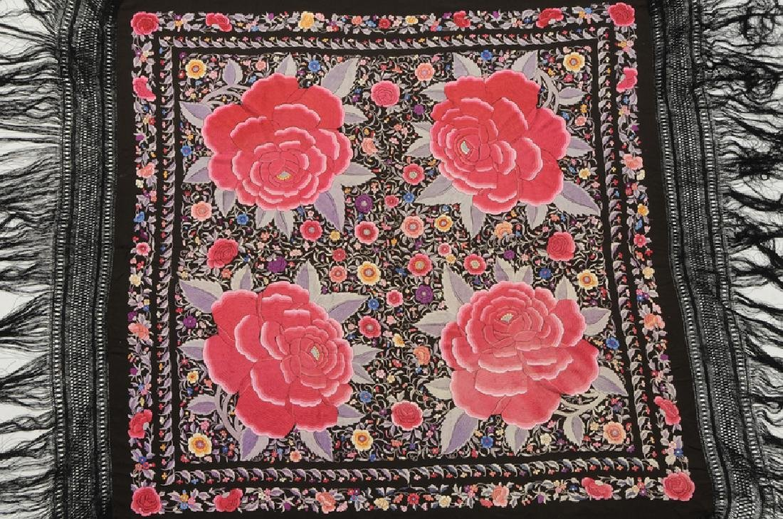 Two Asian Embroidered Silk Panels - 2