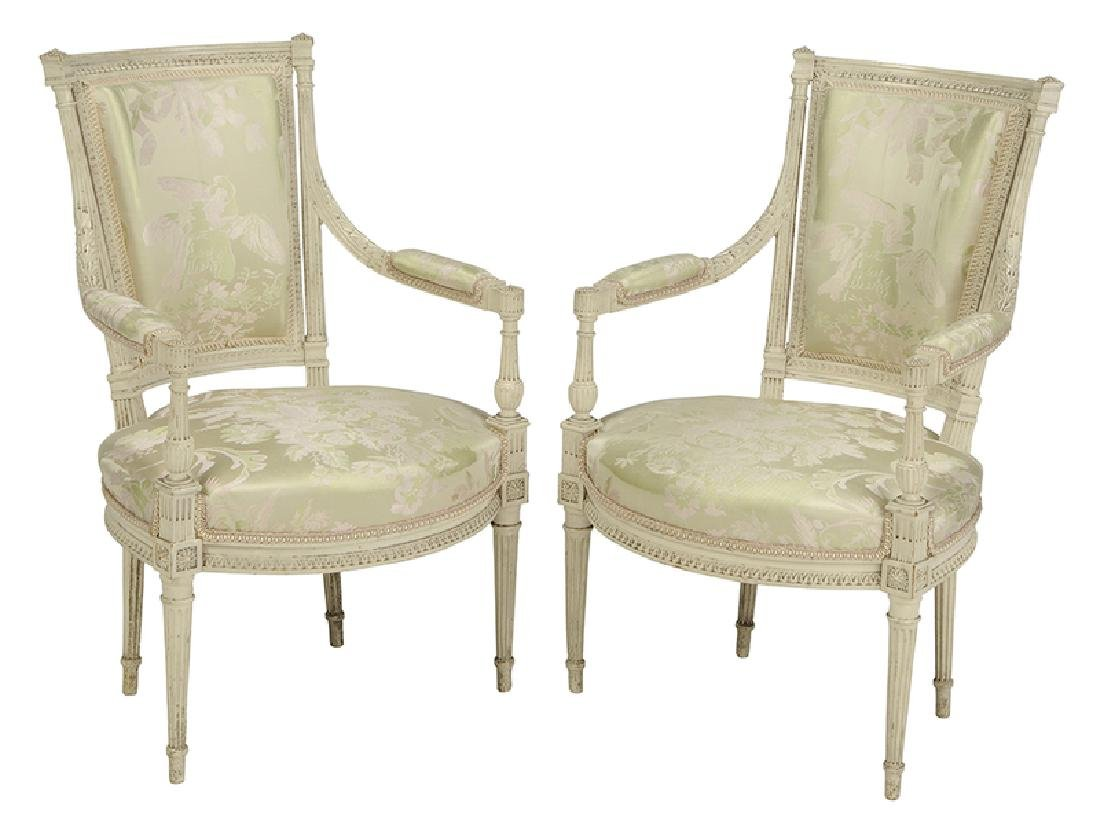 Pair Louis XVI Style Upholstered Arm Chairs
