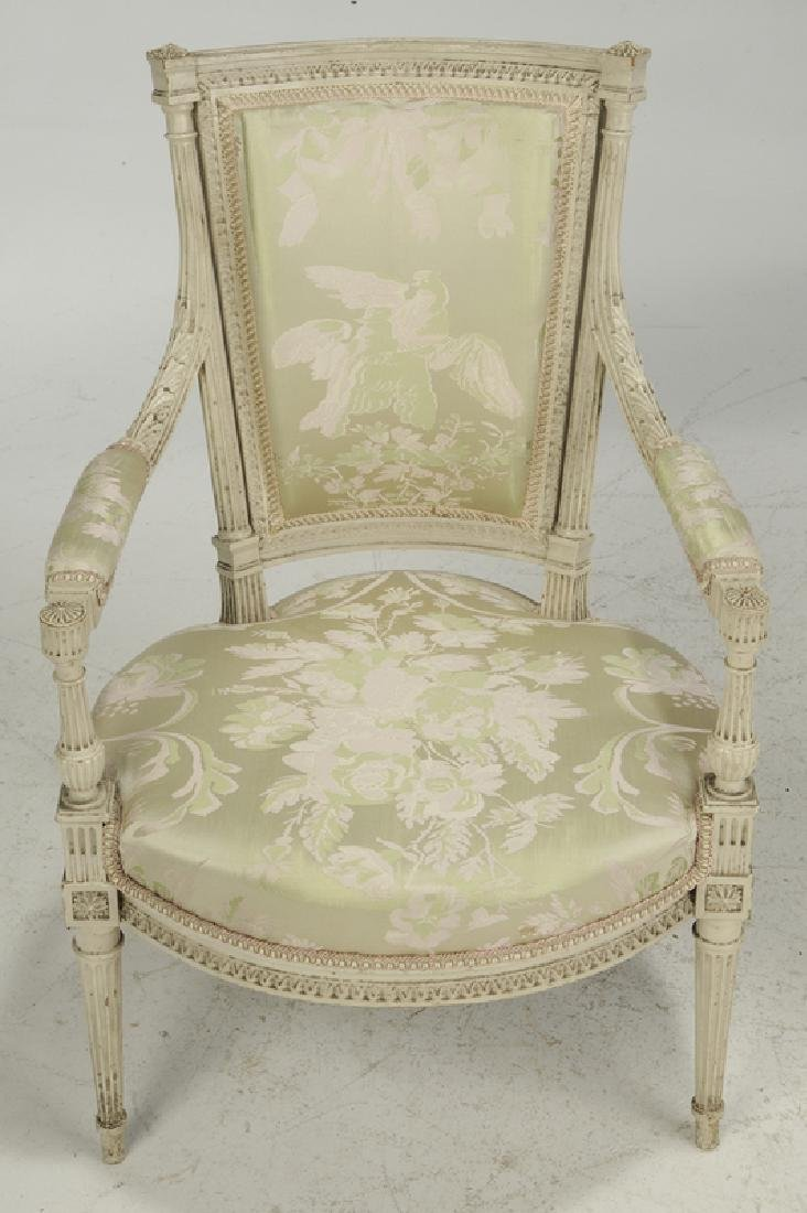 Pair Louis XVI Style Upholstered Arm Chairs - 2