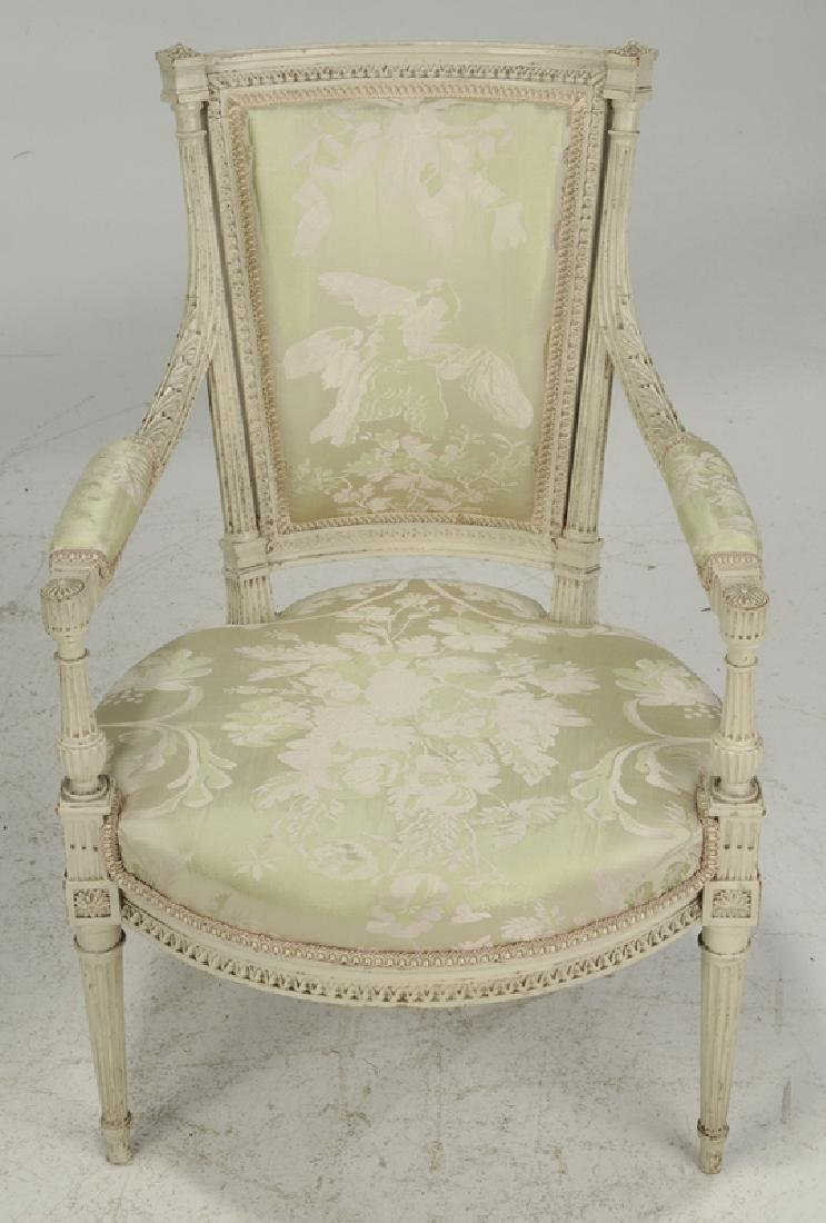 Pair Louis XVI Style Upholstered Arm Chairs - 3