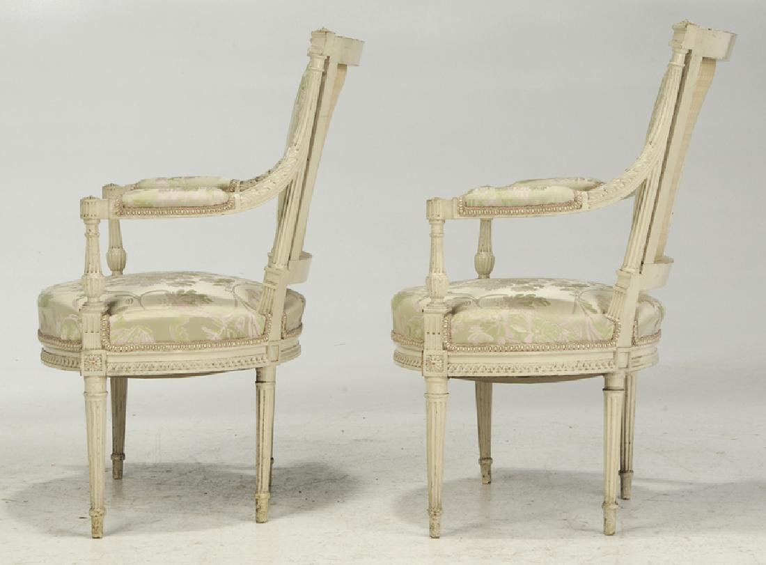 Pair Louis XVI Style Upholstered Arm Chairs - 4