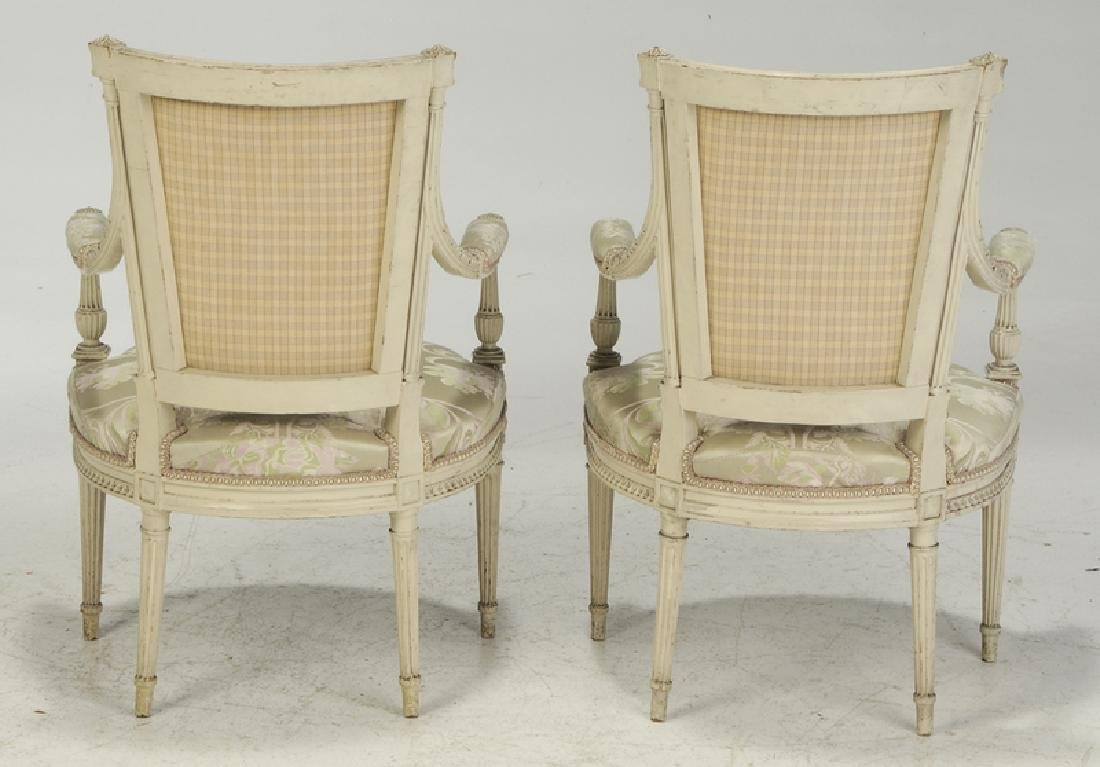 Pair Louis XVI Style Upholstered Arm Chairs - 5