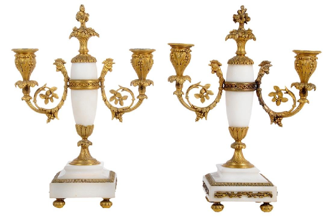 Pair of Louis XVI Marble and Bronze Candelabra