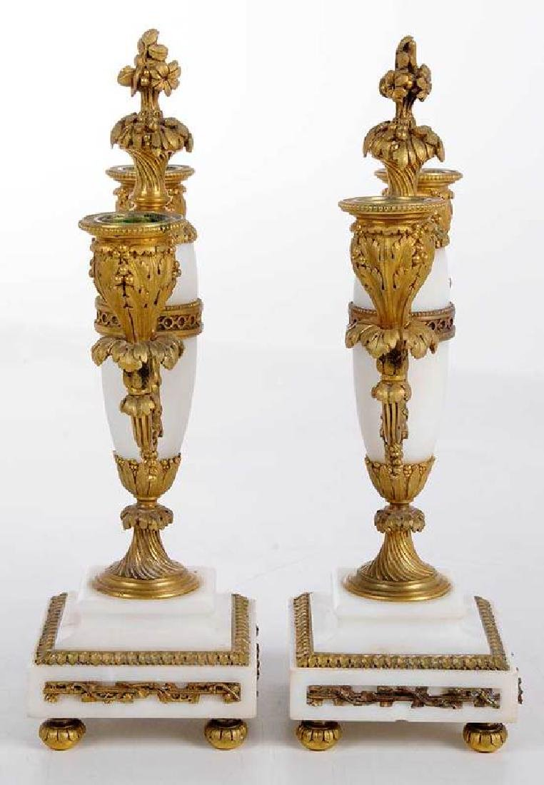Pair of Louis XVI Marble and Bronze Candelabra - 4
