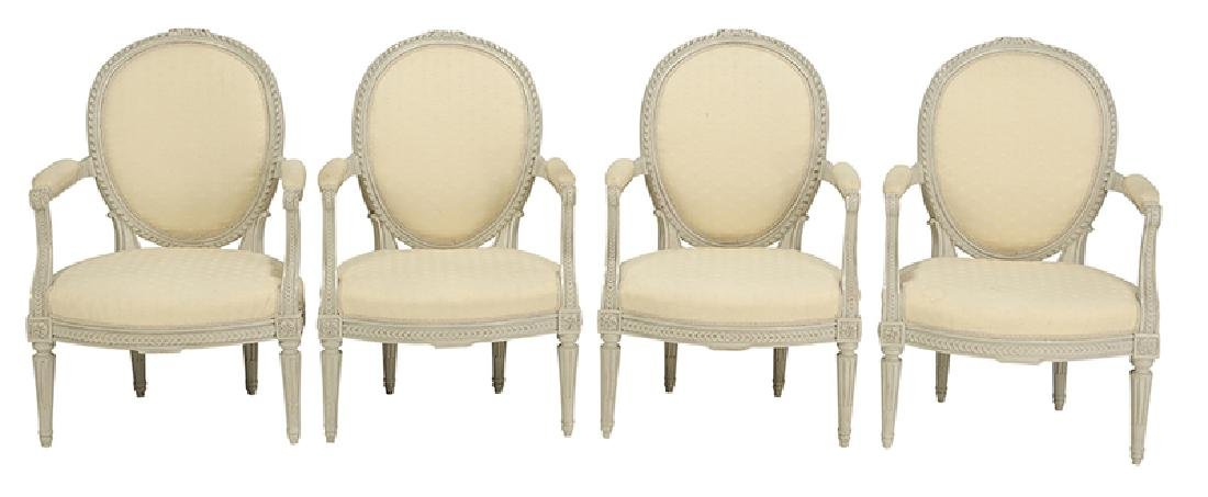 Set Four Louis XVI Style Decorated ArmChairs