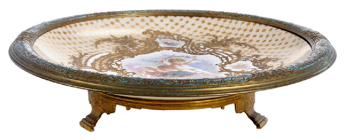 Sevres Style Plate With Enameled Bronze Mounts
