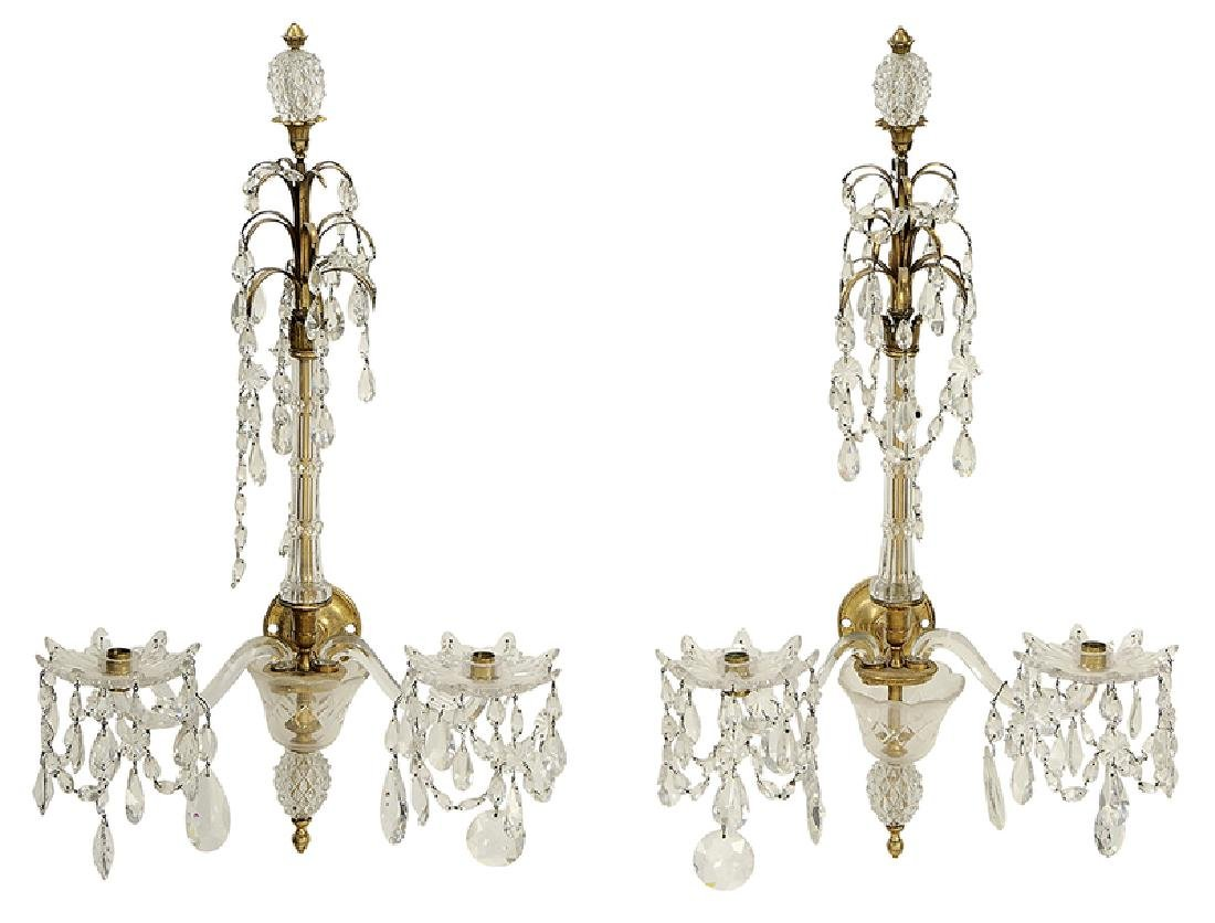 Pair Louis XVI Style Bronze and Crystal Sconces