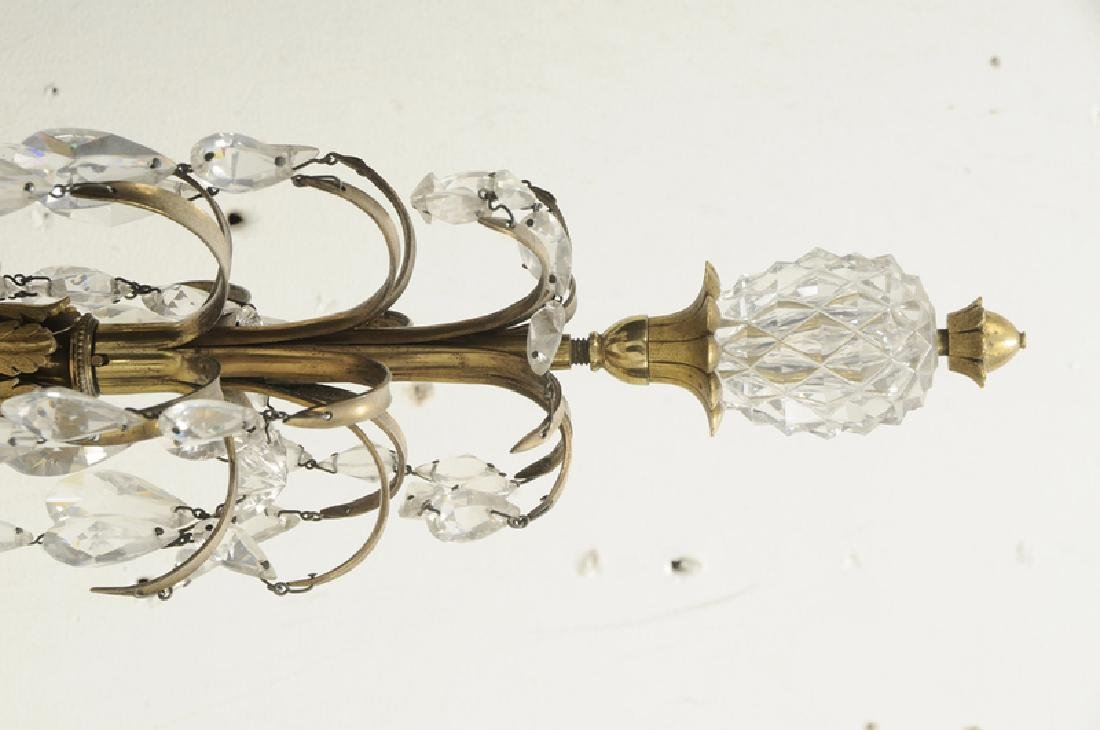 Pair Louis XVI Style Bronze and Crystal Sconces - 3