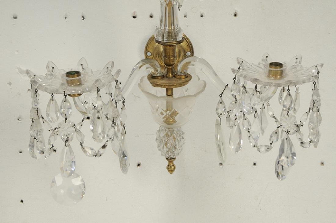 Pair Louis XVI Style Bronze and Crystal Sconces - 4