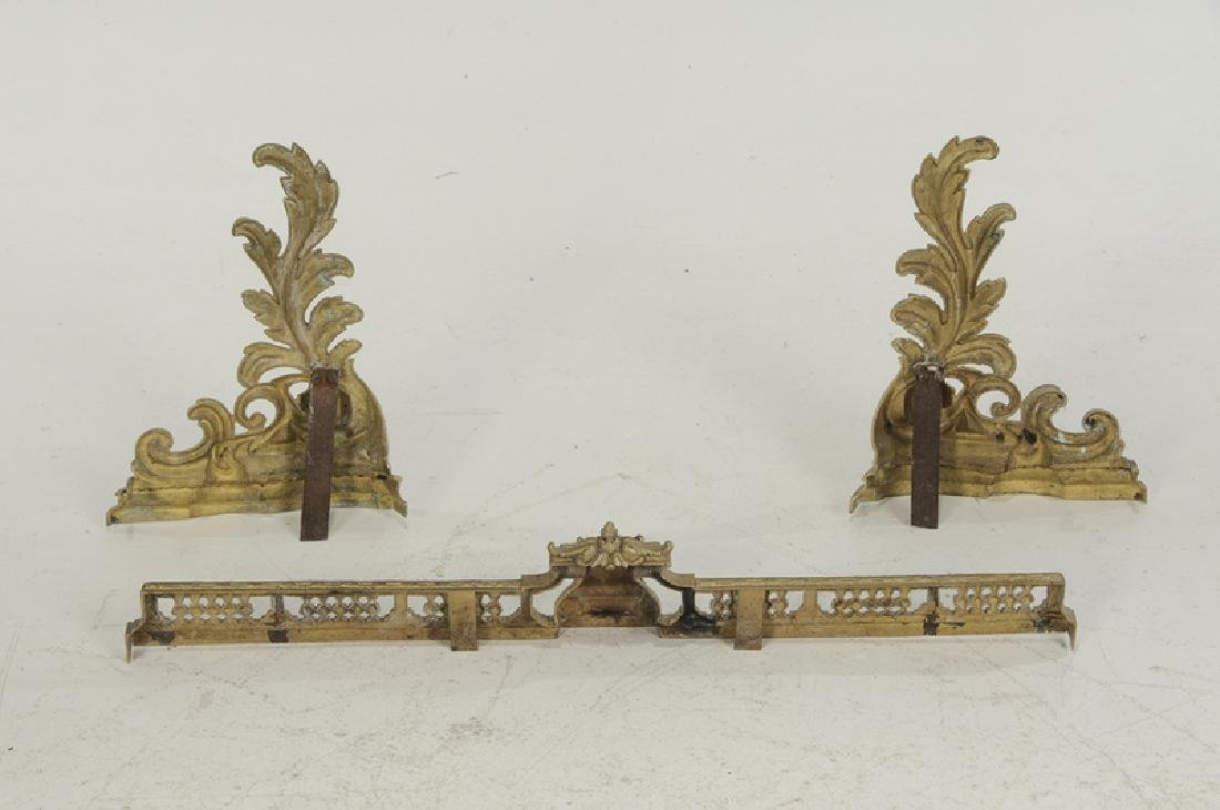Set of Louis XV Style Gilt Bronze Chenets - 4