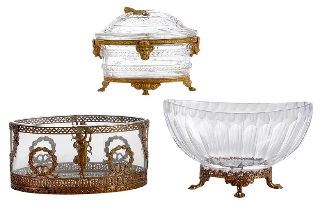 Three Neoclassical Bronze Mounted Crystal Bowls